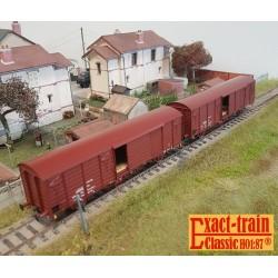 Set de 2 wagons couverts DB Gbs 258 EUROP Ep V HO Exact-Train EX20468- Maketis