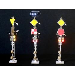 3 mechanische Doppelsignale auf vereinheitlichtem Matt HO Régions et Compagnies SIG002 - Maketis