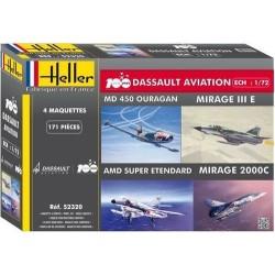Coffret Mirage III + 2000 + S-Etendard+Ouragan 1/72 Heller 52320