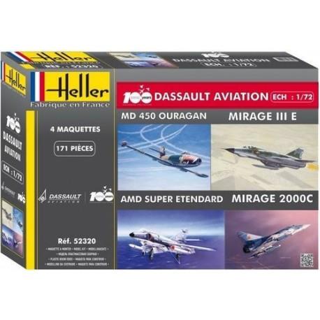 Coffret Mirage III + 2000 + S-Etendard+Ouragan 1/72 Heller 52320 - Maketis