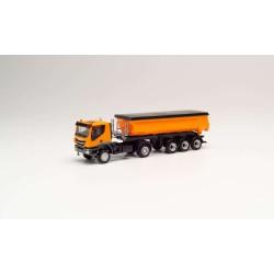 Camion benne Iveco Trakker 4x4 orange HO Herpa 311373 - Maketis