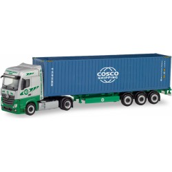 """Camion porte conteneur """"COSCO"""" Mercedes Benz Actros HO Herpa 311427 - Maketis"""