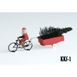 Père Noël à vélo HO assemblé pour système Magnorail KKf-1