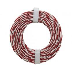 Câblage rigide double 0,5 mm torsadé / 10 m rouge-blanc Donau 205-10 - Maketis