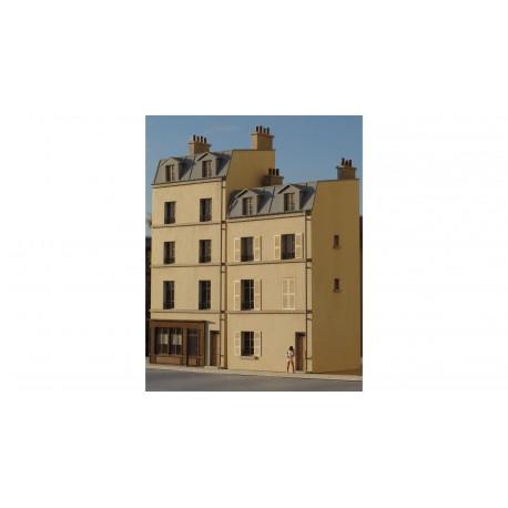 Immeuble de ville étroit mansardé R+3 HO Cités Miniatures BV-016 - Maketis