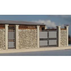 Mur d'enceinte en pierres + 2 portails HO Cités Miniatures BV-035-4-HO