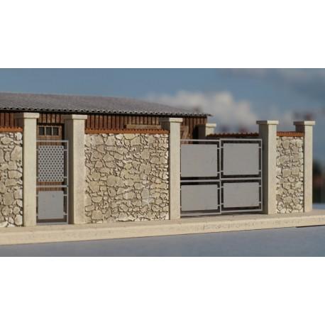 Mur d'enceinte en pierres + 2 portails HO Cités Miniatures BV-035-4-HO - Maketis