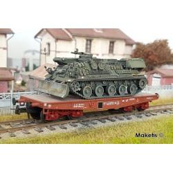 """Wagon Porte-char Rlmmp SNCF Ep.IV et Char AMX 30D Dépanneur """"ATHOS"""" HO REE WBA-012"""
