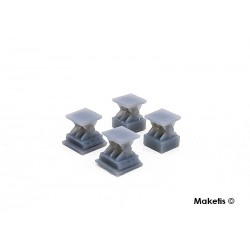 Bridge supports single track 4 pcs HO Maketis 9011 - Maketis