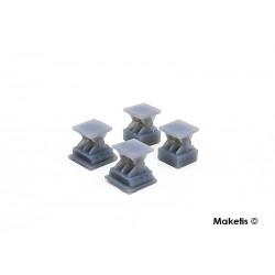 Appuis de pont voie unique 4 pcs HO Maketis 9011 - Maketis