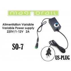 Alimentation variable 110-220V / 1-12V CC 2A avec prise US SO-7