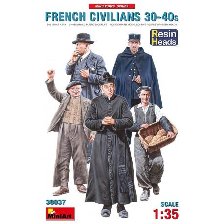Civils français années 30-40 tête en résine 1/35 Miniart 38037 - Maketis