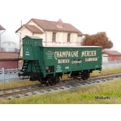 "Wagon couvert à essieux ""Champagne Mercier"" Ep III HO Brawa 49805"