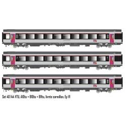 Set 3 voitures Corail VTU livrées Carmillon Ep.VI SNCF HO LS Models 40144 - Maketis