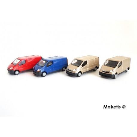 Set 4 camionnettes (2 Vivaro + 2 trafic) HO Rietze spécial chargement