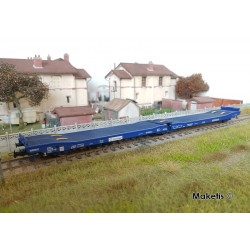 Wagon plat surbaissé 3 essieux Ledks Transfesa SNCF Ep V HO Jouef HJS6203