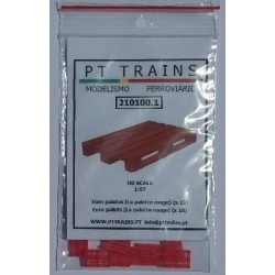 Euro palettes couleur rouge (10 pcs) HO PT TRAINS 210100.1