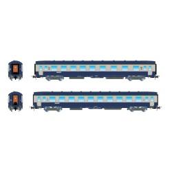 Coffret 2 voitures SNCF DEV AO 1ère + 2ème classe bleu Ep IV HO Jouef HJ4134 - Maketis