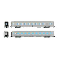 Coffret 2 voitures SNCF DEV Inox 1ère classe A5 et A7Dtj Ep IV HO Jouef HJ4136 - Maketis