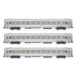 """Coffret 3 voitures SNCF DEV Inox 1 ère classe """"La Mouette"""" Ep IV HO Jouef HJ4139 - Maketis"""