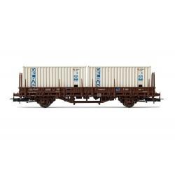 Wagon plat 2 essieux SNCF Lgs et 2 containers 20' Delmas Ep IV/V HO Jouef HJ6175 - Maketis