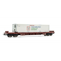 Wagon plat à bogies FS Rgs et container frigo 40' Ep V HO Rivarossi HR6476 - Maketis