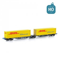 Wagon double Sggmrs 90 + 2 containers 40' DHL Ep VI HO Lemke 58955
