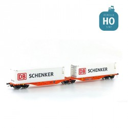 Wagon double Sggmrs 90 Wascosa + 2 containers 40' DB Schenker EP VI HO Lemke 58957