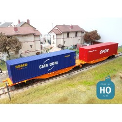 Wagon double Sggmrss Wascosa + 2 containers 40' OPDR/CMA-CGM Ep VI HO Mabar 58900
