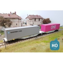 Wagon double Sggmrss AAE + 2 containers 40' ONE/MAERSK Ep VI HO Mabar 58899