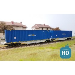 Wagon double Sggmrss AAE + 2 containers 45' UNIT45 Ep VI HO Mabar 58898
