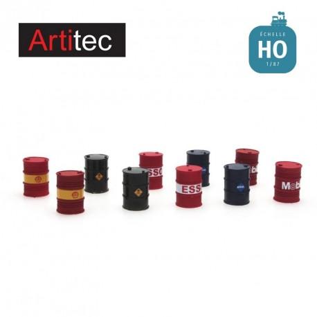 Set de 10 barils de compagnies pétrolières HO Artitec 387.221