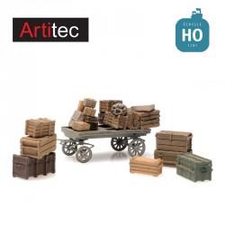 Chargement de caisses en bois avec chariot HO Artitec 387.451