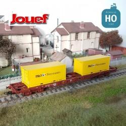 Wagon plat à bogies SNCF S68 et 2 containers 20' P&O Ep IV HO Jouef HJ6194 - Maketis