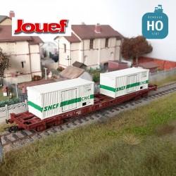 Wagon plat à bogies SNCF S68 et 2 containers 20' C&C Ep IV HO Jouef HJ6195 - Maketis