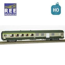 Voiture UIC B5D Vert garrigue-Gris béton, Logo encadré, Cartouche Corail Ep.IV-V HO REE VB-159