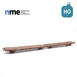 "Wagon plat couplé Laads/Laaps ""TWA 1060"" Transwaggon EP VI NME 530605"