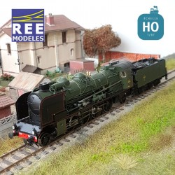 Locomotive vapeur 5-141 E 284 Villeneuve tender 25 A 27 SNCF Ep III Digital son HO REE MB 130S - Maketis