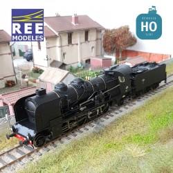 Locomotive vapeur 6-141 E 458 Veynes tender 25 A 88 SNCF Ep III Analogique HO REE MB 129