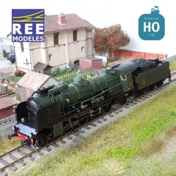 Locomotive vapeur 4-141 F 282 Montluçon tender 25 A 44 SNCF Ep III Digital son HO REE MB 131S