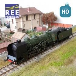Locomotive vapeur 4-141 E 425 Montluçon tender 25 A 593 SNCF Ep III Analogique HO REE MB 127