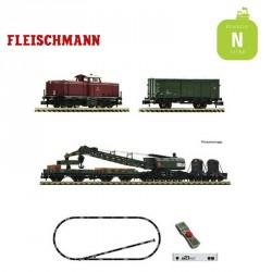 Coffret départ digital Z21 locomotive BR 212 + train de travaux DB Ep IV N Fleischmann 931899 - Maketis