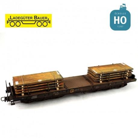 Jeu de plaques d'acier set 1, 2 courtes HO Ladegüter Bauer H01046 - Maketis