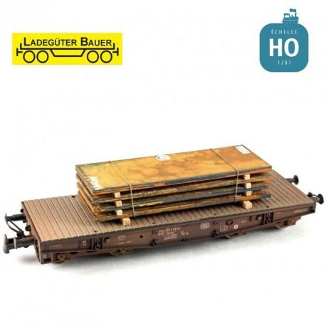 Plaques d'acier, moyennes HO Ladegüter Bauer H01048 - Maketis