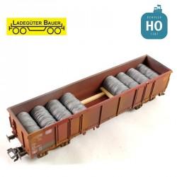 Stahldrahtspulen für Drehgestellwagen Typ Eaos H0 Ladegüter Bauer H01075