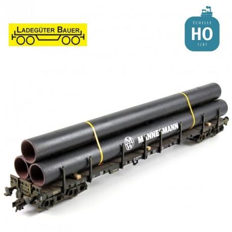 Grand tubes en pile trapézoïdal HO Ladegüter Bauer H01103 - Maketis