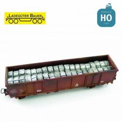 Bobines de fils d'acier pour tombereau à bogies type Eaos HO Ladegüter Bauer H01156 - Maketis