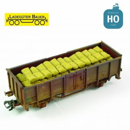 Sacs empilés pour tombereau à essieux HO Ladegüter Bauer H01158 - Maketis