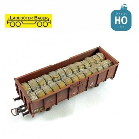 Bobines de fils d'acier pour tombereau à essieux HO Ladegüter Bauer H01155 - Maketis