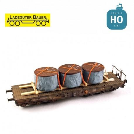 Tourets de cable couverts et couchés HO Ladegüter Bauer H01238 - Maketis